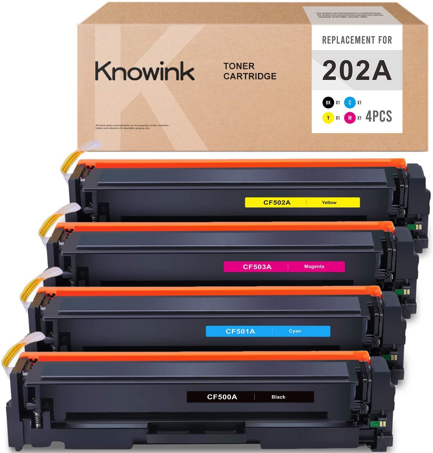 KNOWINK Compatible Toner Cartridge Replacement for HP 202A CF500A CF501A CF502A CF503A for HP Color Laserjet Pro MFP M281fdw M254dw M281fdn M254nw M280nw Toner (Black Cyan Yellow Magenta, 4-Pack)