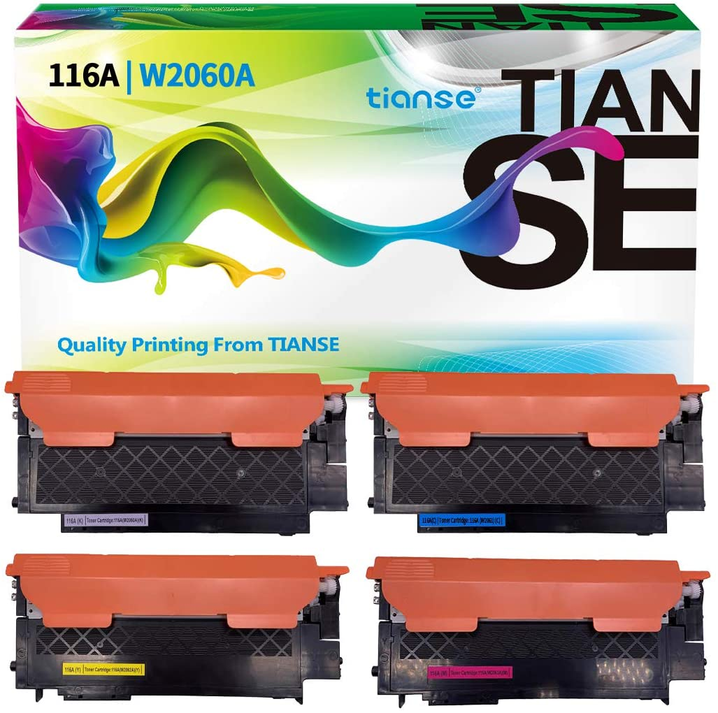 TIANSE Compatible Toner Cartridges Replacement for HP 116A W2060A W2061A W2062A W2063A to use with Color Laserjet 150a 150nw MFP 178nw 179fnw Series Laser Printers (B/C/Y/M - 4 Pack)