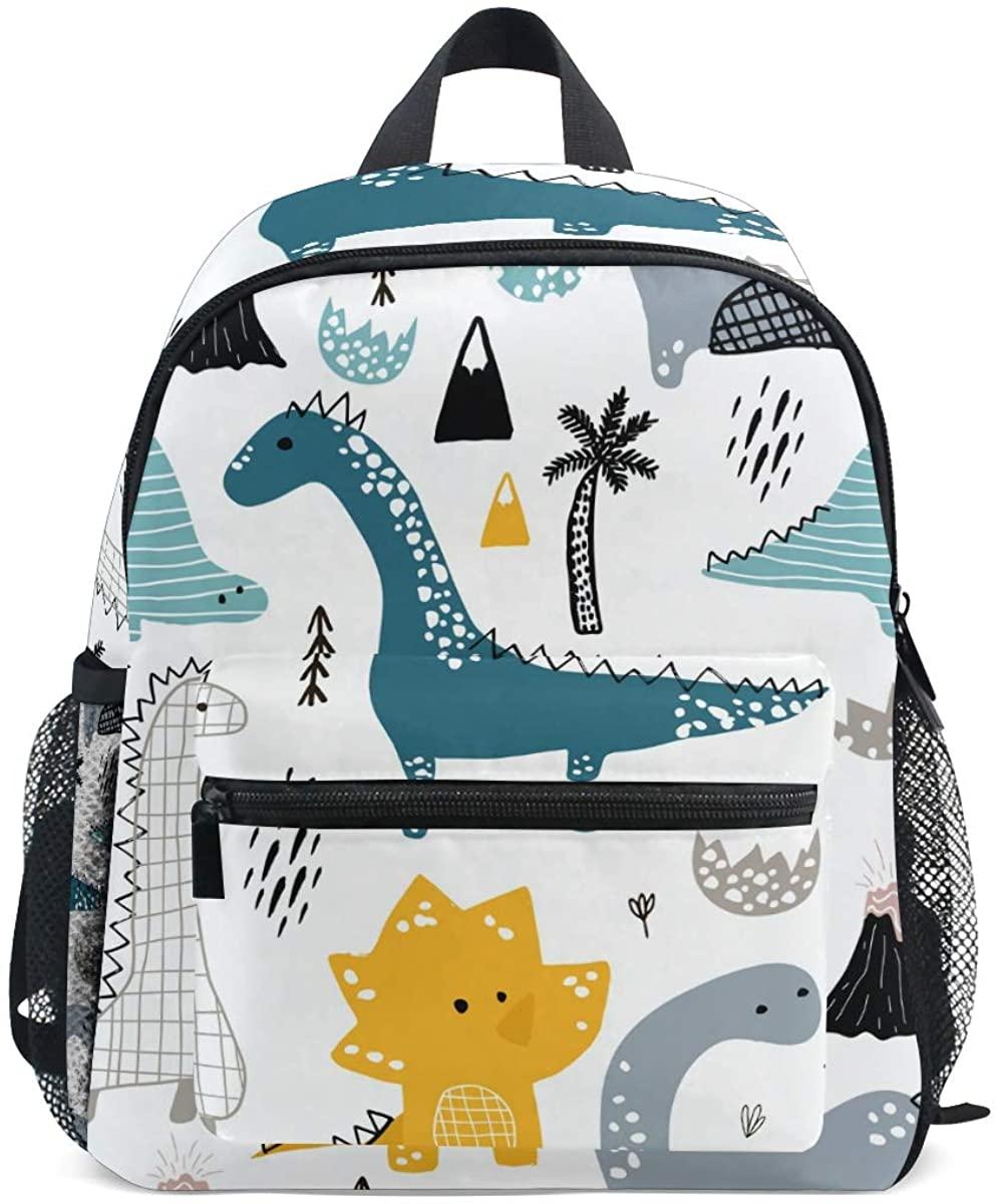 Kids School Backpack Hand Drawn Dinosaur Toddler Preschool Shoulder Bookbag Kindergarten Elementary School Bag for Small Boys Girls