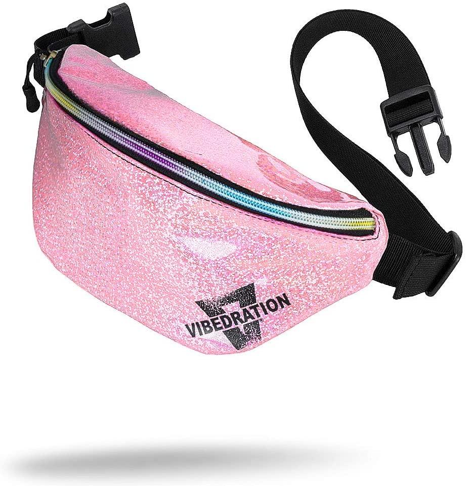 Vibedration Fanny Pack | Fashion Waist Packs for Travel, Festivals, Raves | Everyday Belt Bag for Women, Men, Kids (Light Pink Sparkles)