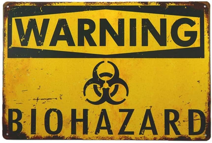 YILMEN Warning Biohazard Hazard Sign Hazard Labels Novelty Metal Sign (M0015)