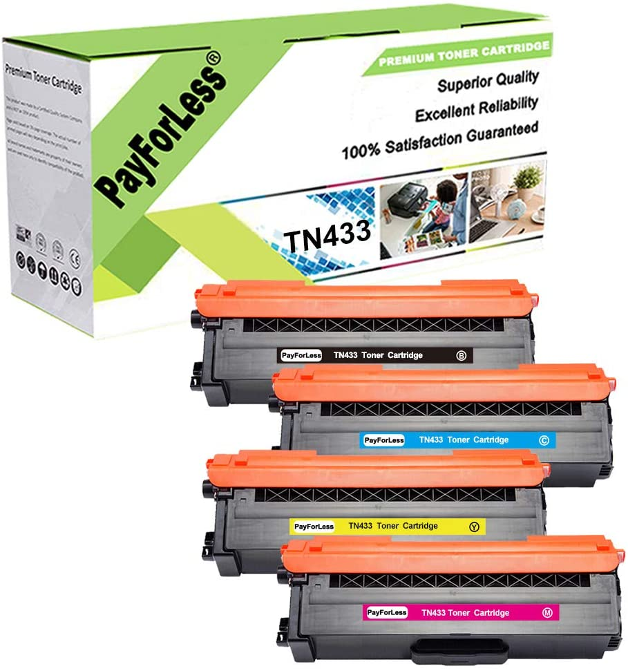 PayForLess 4PK TN433 TN-433 TN431 TN-431 Toner for Brother HL-L8260CDW HL-L8360CDW HL-L8360CDWT MFC-L8610CDW MFC-L8900CDW Printers