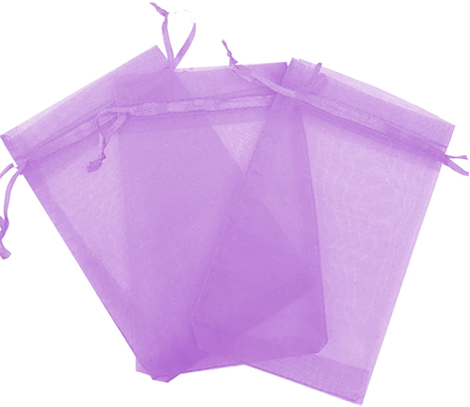 200 Pcs Lavender 3x4 Sheer Drawstring Organza Bags Jewelry Pouches Wedding Party Favor Gift Bags Gift Bags Candy Bags [Kyezi Design and Craft]