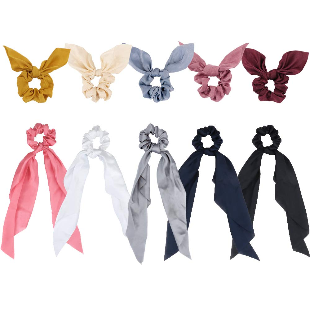 Exacoo 10 pcs Satin Scarf Hair Scrunchies Ribbon Bow Scrunchies with Solid Colors, Including 5 Satin Hair Scarf and 5 Bunny Ear Scrunchies, 2 Style