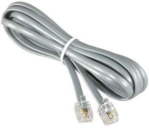 InstallerParts (10 Pack RJ12 Modular Telephone Cord Extension- Reverse Wiring, Silver (7FT)