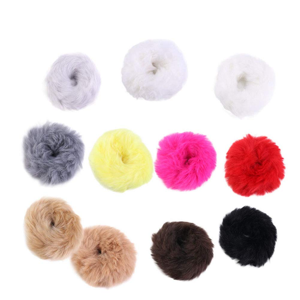 LOVEF 6 Pcs Fuzzy Furry Artificial Rabbit Fur Faux Fur Hair Band Rope Hair Holder Wristband Hair Ring Hair Tie Ponytail Holder Hair Accessories