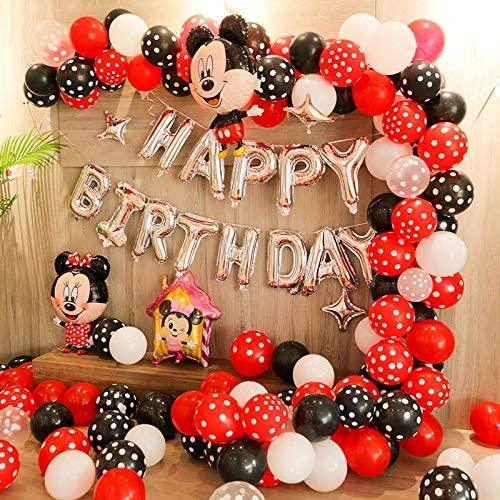 zorpia 115 Pcs Mouse Balloon Garland Arch Kit Black Red White Balloon Garland Arch and Balloon Strip for Mouse Theme Party Baby Shower Birthday Wedding Decoration (Black Red Mouse Color)