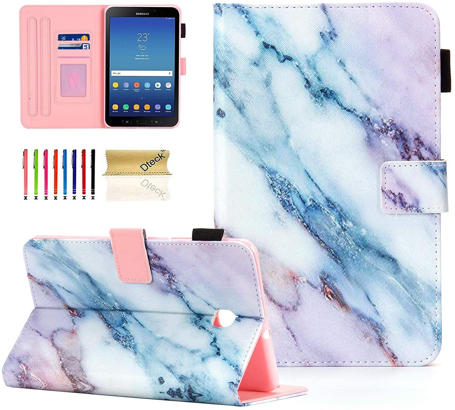 SM-T387 Case, Galaxy Tab A 8.0 Case, Dteck Slim Fit Folio Stand Premium Leather Cover with Card Holder/Photo Slot for Samsung Galaxy Tab A 8.0 inch 2018 Release SM-T387 Tablet, Pink Marble