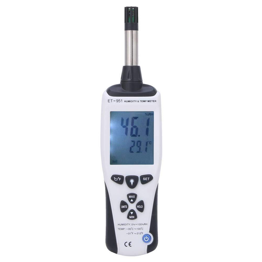 Digital Temperature Meter Humidity Meter Handheld Hygrometer Thermometer ET-951 Temperature and Humidity Meter Backlight LCD, -35℃~100℃ 0~100% RH