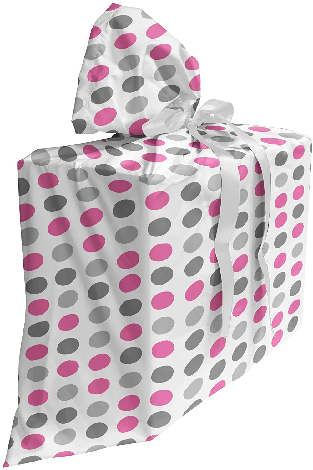 Ambesonne Geometric Fabric Gift Bag, Traditional Retro Polka Dots Design European Ancestral Motif Pastel Colors, Present Sack for Baby Showers Birthdays with 3 Ribbons, 27 X 32, White Grey