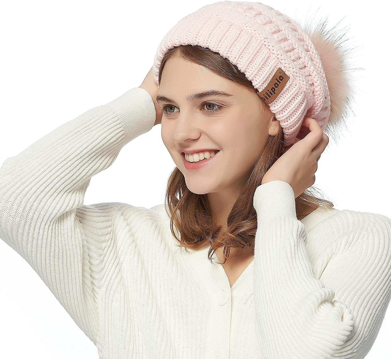 Pilipala Womens Winter Knit Beanie Hat Slouchy Warm Raccoon Fur Pom Pom Hat Caps for Women Ladies Girls