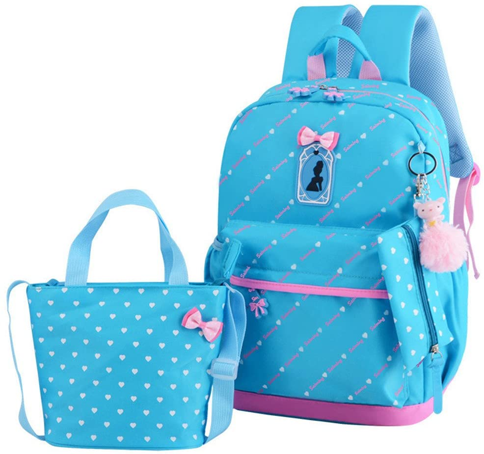 MITOWERMI Bowknot Heart Printing Primary Backpack Sets Schoolbag for Girls Travel Daypack Shoulder Bag Pencil Case 3pcs