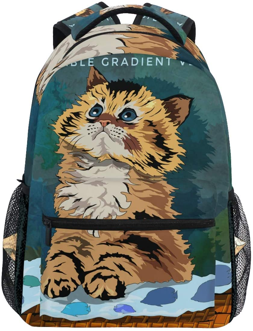 Cute Cat Cartoon Kitten Painting Backpack Bookbags Daypack Travel School College Bag for Womens Mens Teens