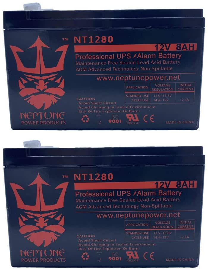 Neptune 12V 8Ah Rechargeable Sealed Lead Acid Battery F1 Terminals (2) Pack
