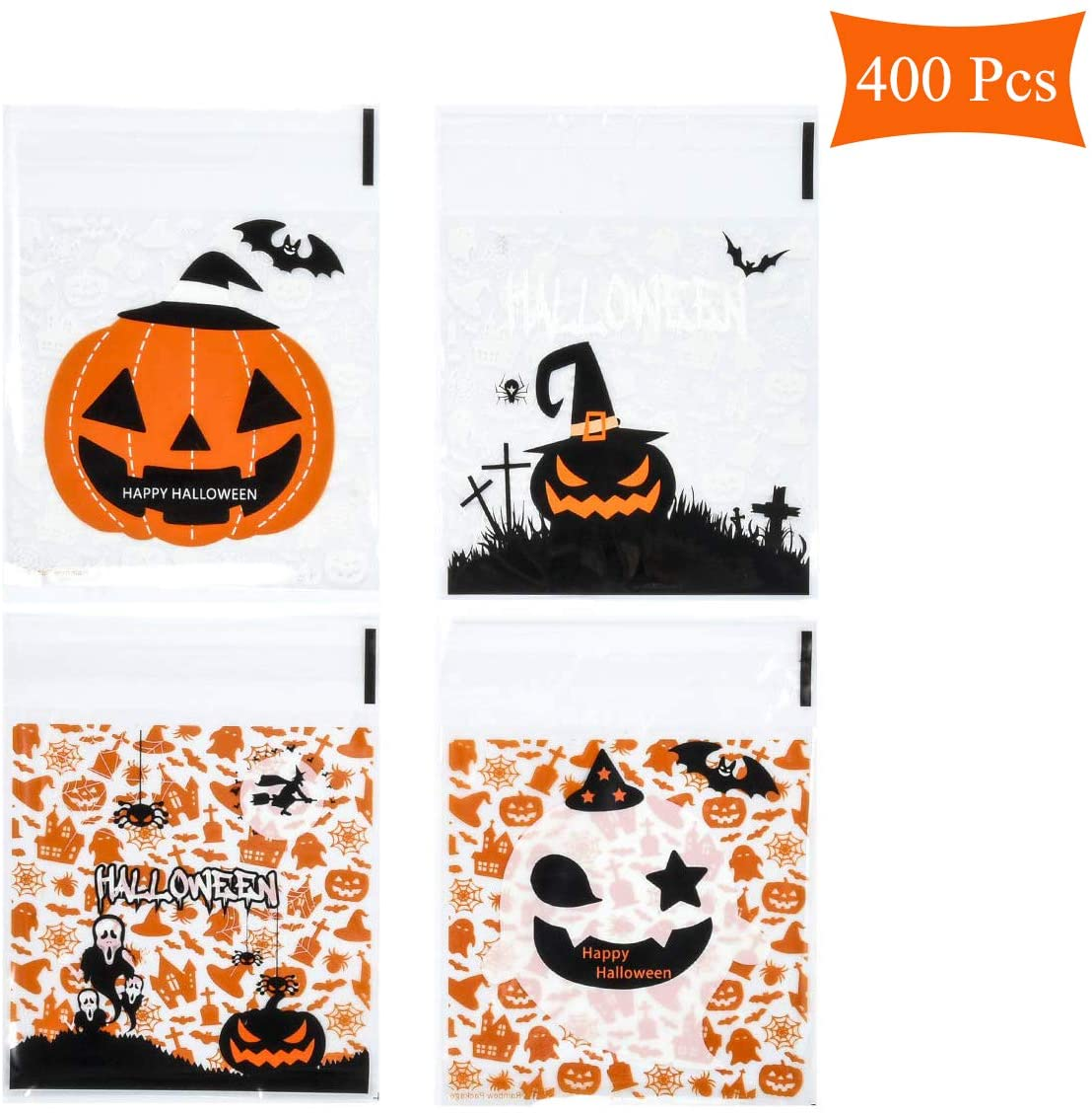 Beautyflier 400 Pcs Self Adhesive Halloween Candy Cookie Bags 4 Different Style Cellophane Treat Bags for Homemade Crafts Bakery Biscuit Chocolate Snacks Dessert Party