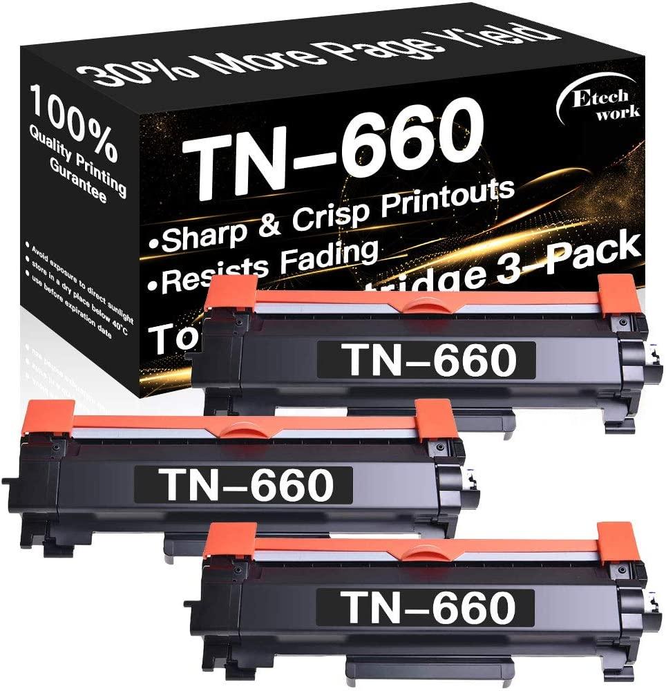 3-Pack Compatible TN630 TN660 Printer Toner Cartridge TN-660 TN-630 Used for Brother MFC-L2680W MFC-L2685DW MFC-L2740DW DCP-L2520DW DCP-L2540DW HL-L2300D HL-L2305W HL-L2320D (Black), Sold by Etechwork