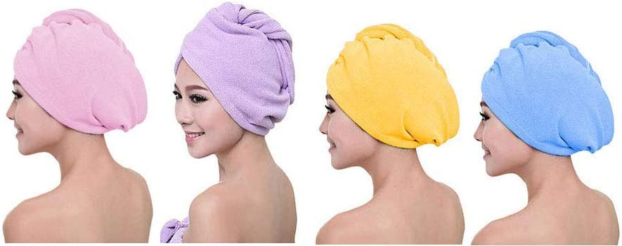 EVERMARKET INC Hair Towel Wrap Turban Microfiber Drying Bath Shower Head Towel with Buttons, Quick Magic Dryer, Dry Hair Hat, Wrapped Bath Cap (4 Pack-Purple&Pink&Yellow&Blue)