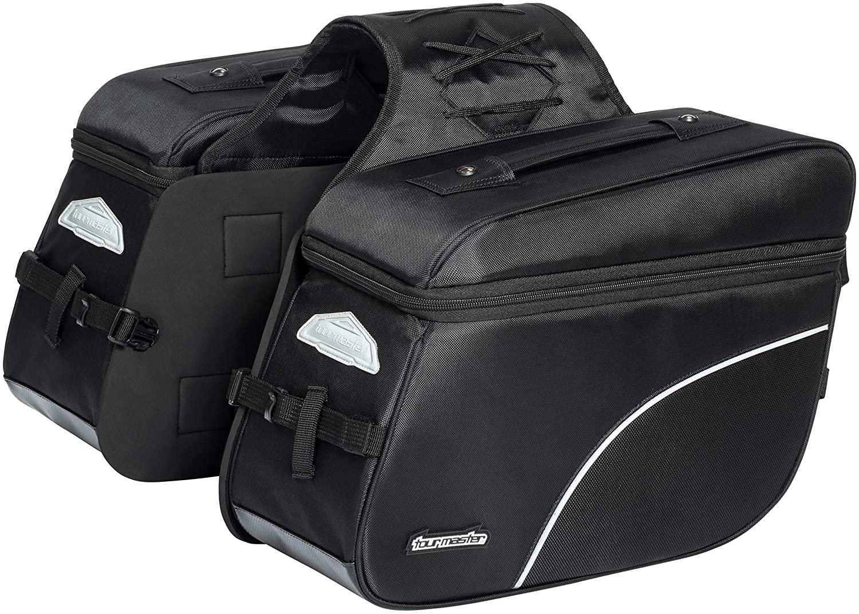 Tour Master NC 4 Nylon Slant Street Motorcycle Saddle Bags - Black/Medium