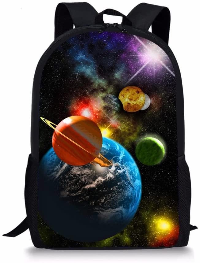 UNICEU Planet Printing School Backpack Cool Schoolbags Lightweight Book Basg for Boys Girls Teens