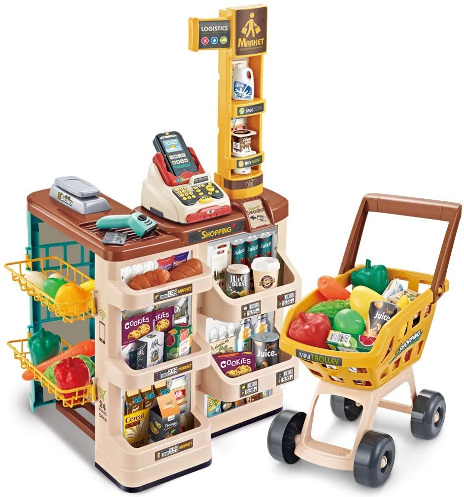 Shopping Cart Simulation Supermarket Cash Register Toy, Kids Supermarket Super Fun Playset, Shopping Grocery Play Store for Kids with Shopping Cart and Scanner (Multicolour)