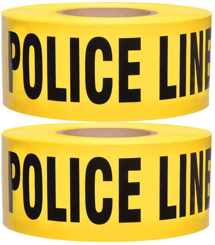 Police Line Do Not Cross Tape 2 Pack •3 inch x 1000 feet • Hazard Tape Black and Yellow • Strongest & Thickest Tape • Weatherproof Resistant Tear Resistant Design