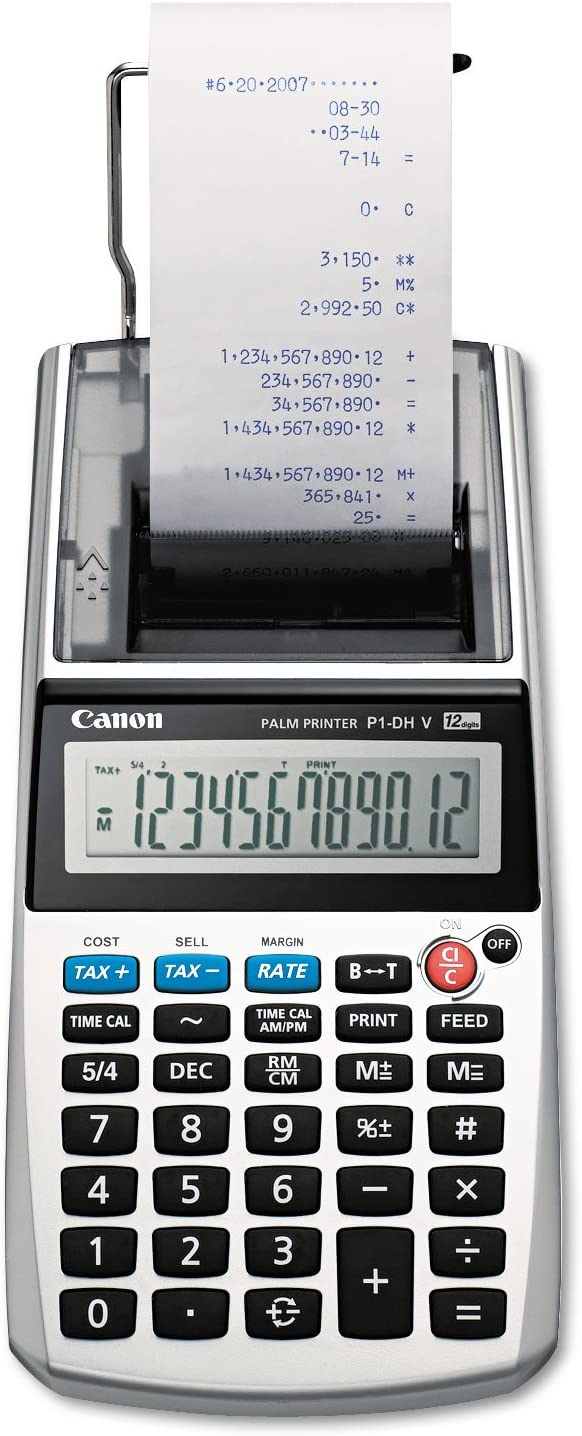 P1-DHV One-Color 12-Digit Printing Calculator, 12-Digit LCD, Purple, Sold as 1 Each