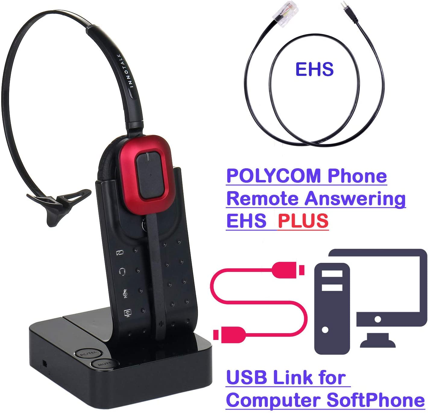 Computer and Polycom VVX300, VVX310, VVX400, VVX410, VVX500, VVX600, VVX1500 Compatible Wireless Headset