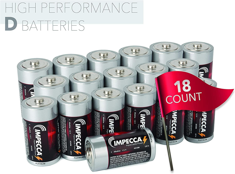 IMPECCA D Batteries (18 Pack) All Purpose D Alkaline Battery, High Performance 1.5 Volt Size D Batteries, 18 Count