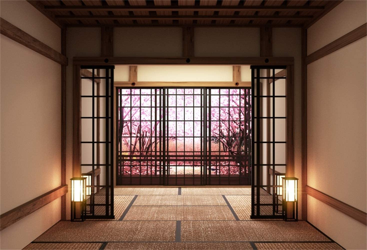 Laeacco 10x8ft Japanese Style Empty Lobby Interior Blooming Trees Vinyl Photography Background Japan Traditional Residence Backdrop Indoor Decoration Wallpaper Studio Photo Props