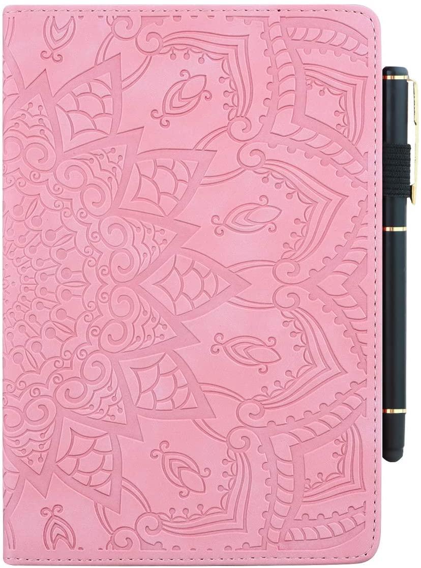 Pefcase iPad Mini 7.9 inch Case/Mini 2/ Mini 3/Mini 4/ Mini 5 Cover, PU Leather Lightweight Slim with Multiple Viewing Angles Card Holders Mandala Flower for iPad Mini 2/3/4/5 - Pink