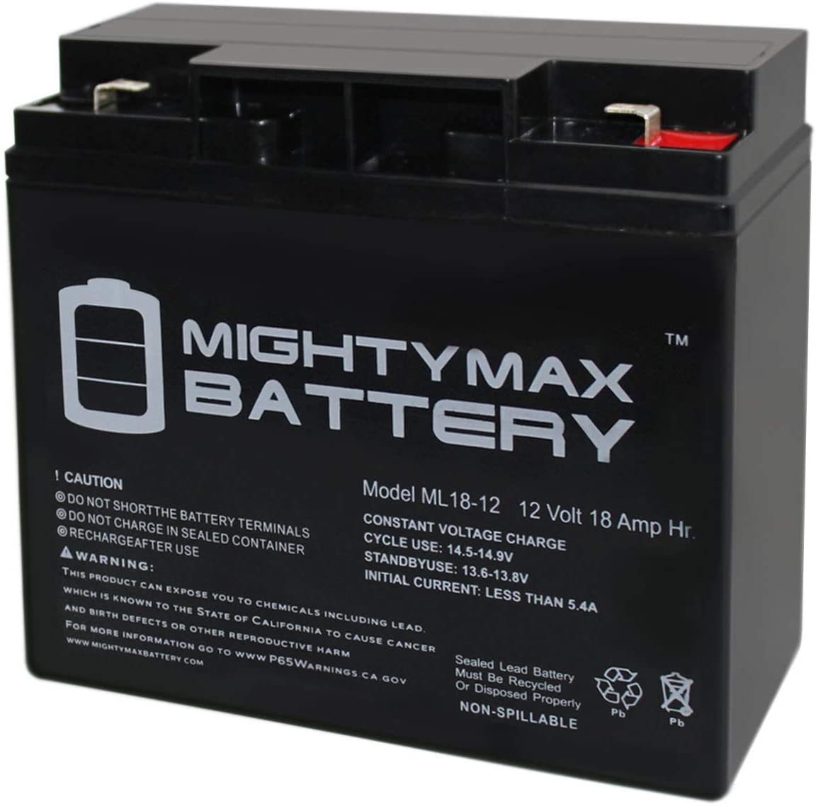 Mighty Max Battery 12V 18AH F2 Replacement Battery for DURA12-18F2 Brand Product
