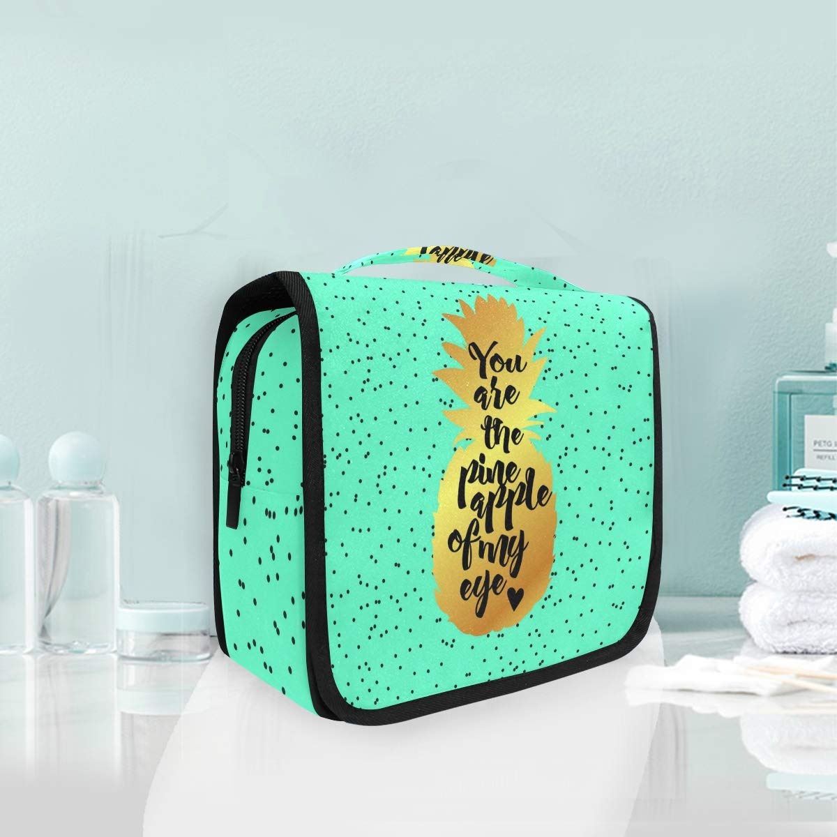 Hanging Toiletry Bag Pineapple Portable Cosmetic Makeup Travel Organizer for Men & Women with Sturdy Hook