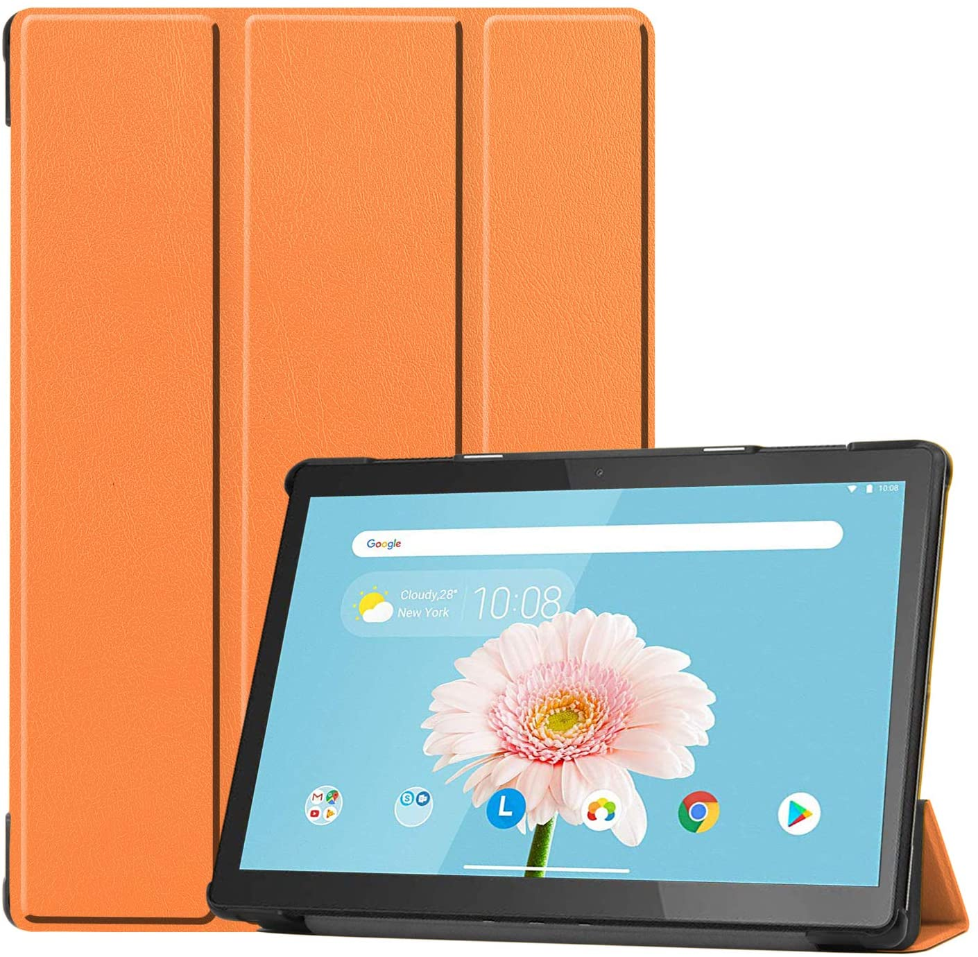 Smart Case for Lenovo Tab M10 HD TB-X505F, Ratesell Lightweight Smart Trifold Stand Microfiber Lining Case Cover for Lenovo Tab M10 HD TB-X505F TB-X505L / Lenovo Tab M10 10.1'' (TB-X605F) Orange