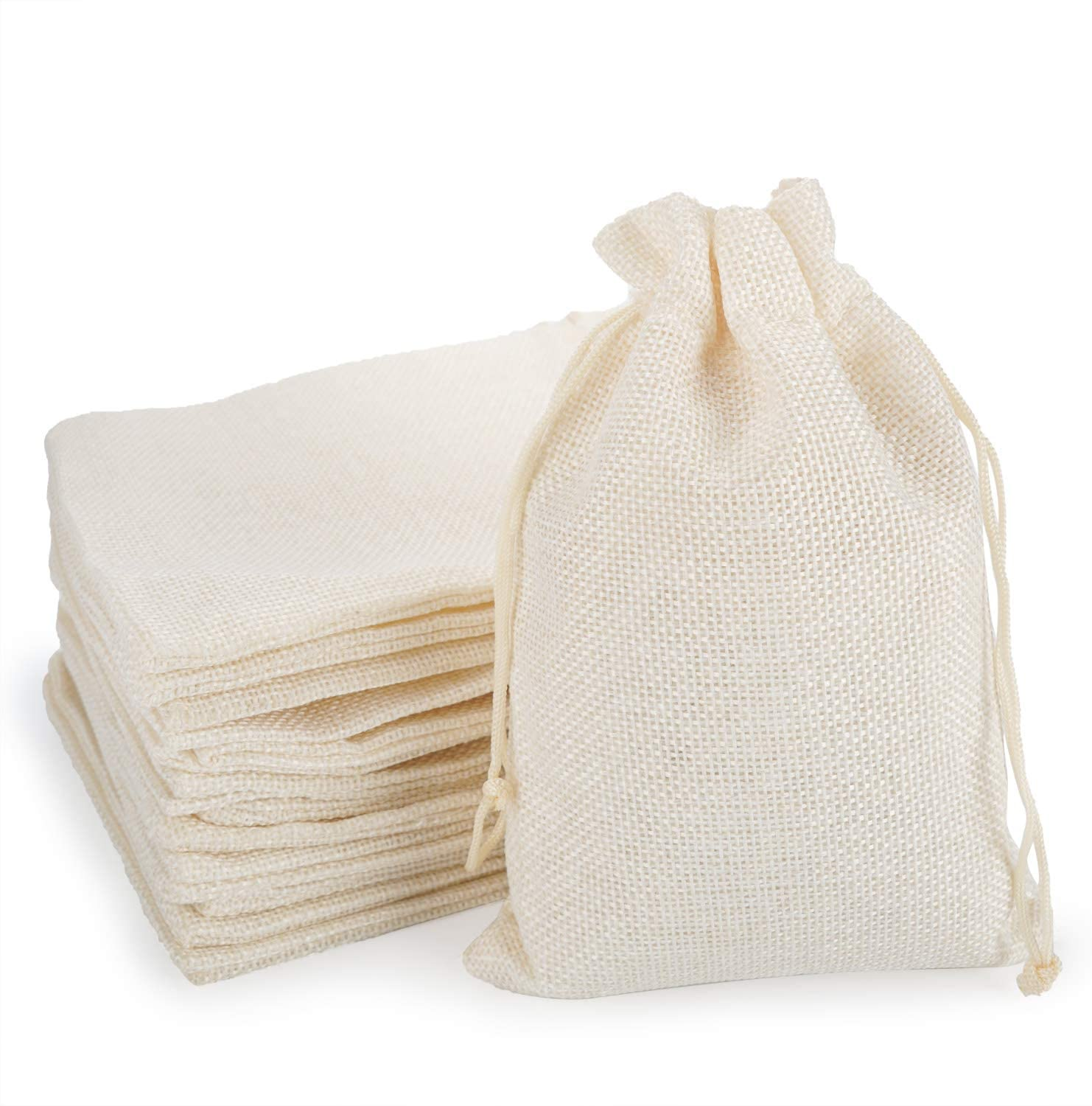 Burlap Bags with Drawstring, EUSOAR 5 x 7 inch Gift Bags 50 pcs, Linen Pouches with Drawstring, Handmade Shopping Store Package Present Bags, Birthday Welcome Wedding Party Pouches-Creamy White