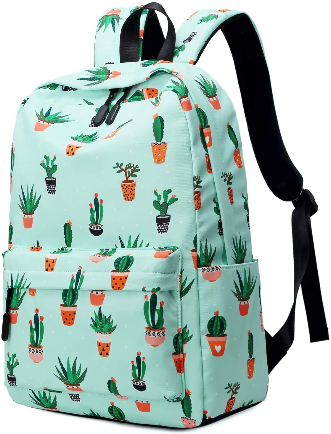FLYMEI Cute Backpack for Girls, Cactus Backpack for School, Lightweight Teens Bookbags 15.6 Inch Laptop Backpack for Women, Kawaii Backpack