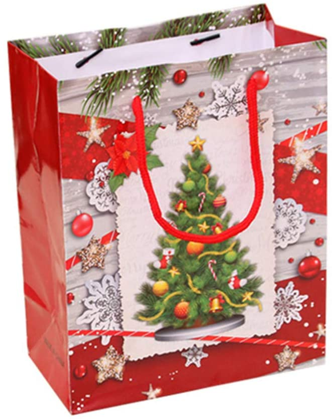 UPKOCH 5pcs Christmas Kraft Paper Gift Bags with Handle for Party Goody Ornament (S Size Christmas Tree)