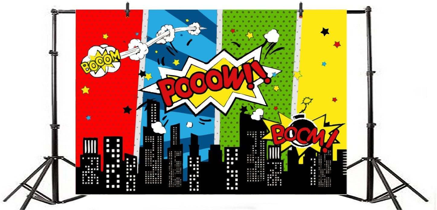 Yeele 5x4ft Cartoon Comic City Super Hero Photography Backdrop Vinyl Humor Abstract Superhero Baby Shower Photo Background for Girl Kid Birthday Party Photo Video Shoot Studio Prop Wallpaper