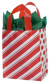 Medium Peppermint Stripes Frosted Shopping Bags 8