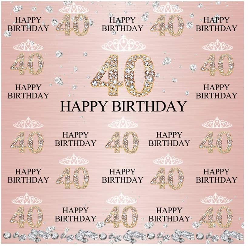 Laeacco 40th Birthday Backdrops Rose Gold 40th Birthday Background for Women 8x8ft Step and Repeat Forty Birthday Backdrop 40 Year Old Party Decorations Pink 40th Birthday Photo Backdrop Vinyl