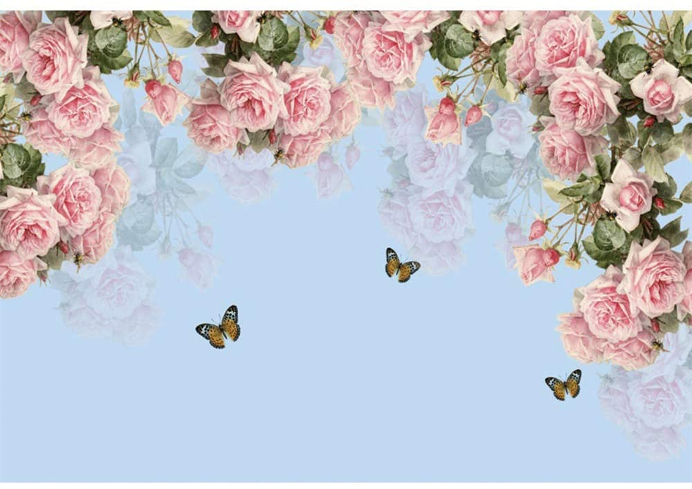 DORCEV 7x5ft Pink Flowers Backdrop Wedding Ceremony Party Bridal Shower Birthday Party Background Pink Rose Blue Sky Butterfly Party Banner Kids Adult Wedding Photo Studio Props