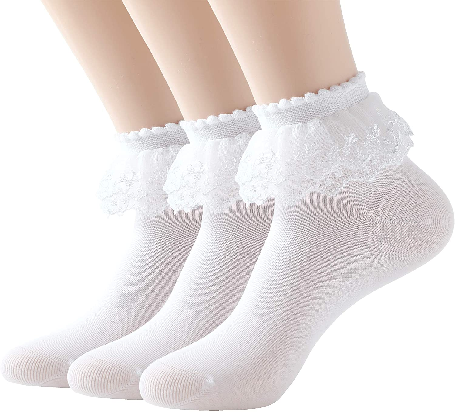 SRYL Women Ankle Socks,Lace Ruffle Frilly Cotton Socks Trim Double Layer Lace,Princess Socks Dress Socks H08