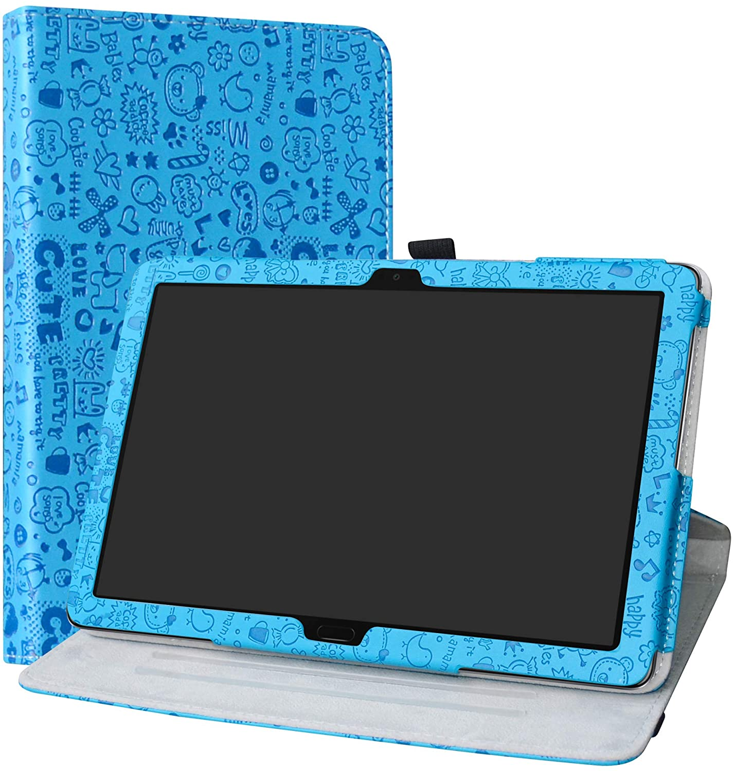 MediaPad M5 Lite Rotating Case,LiuShan 360 Degree Rotation Stand PU Leather with Cute Pattern Cover for 10.0