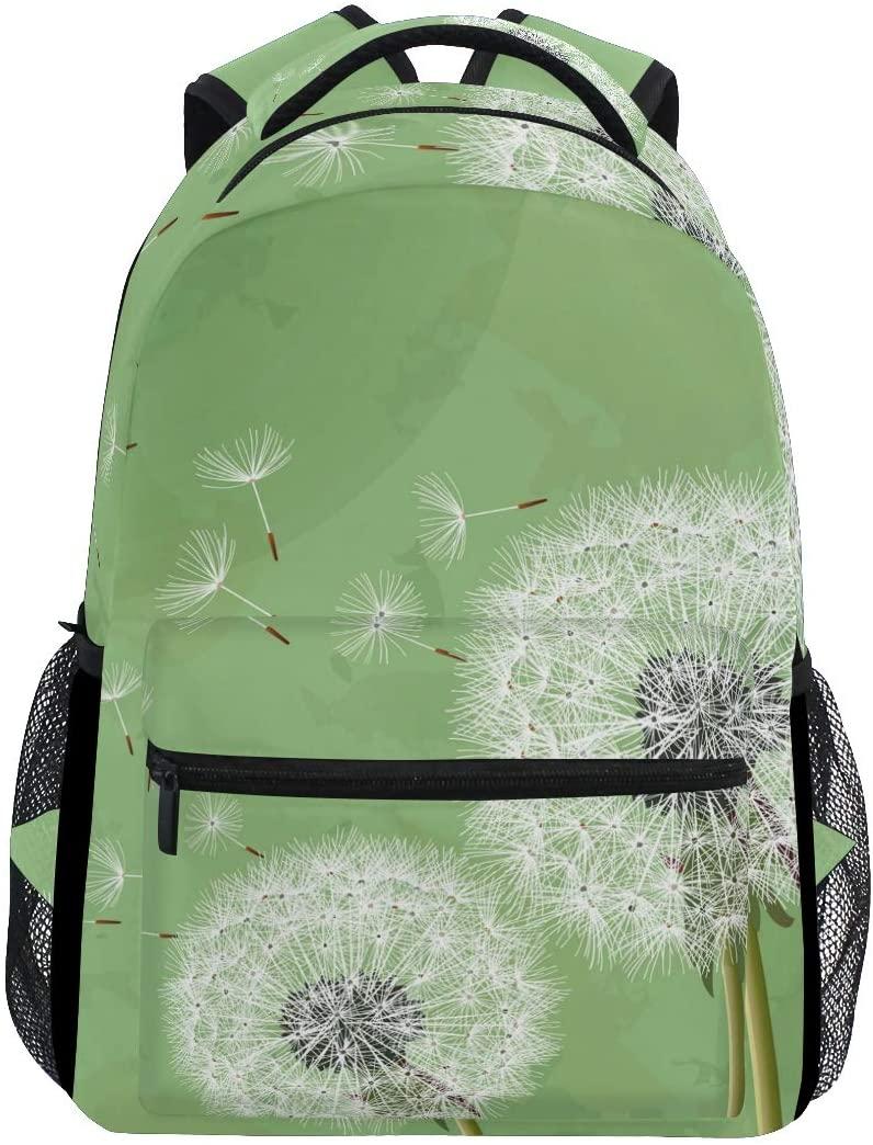 Green Dandelion Backpack Student Schoolbags Travel Shoulders Bags for Women Men