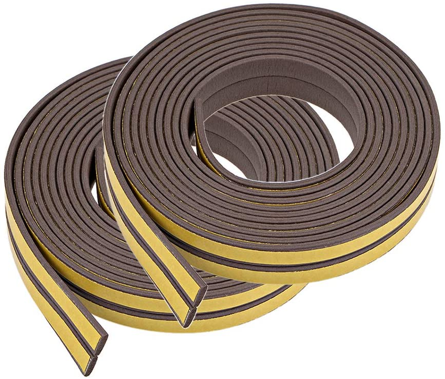 uxcell Foam Tape Adhesive Weather Stripping 9mm Wide 2mm Thick, 2.5 Meters Long Brown, 2Pcs