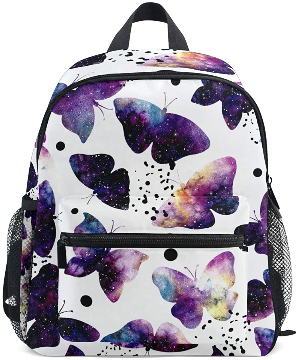Upgraded Backpack for School Teenagers Girls Boys Galaxy And Butterflies Travel Bag with Chest Buckle and Whistle(k)
