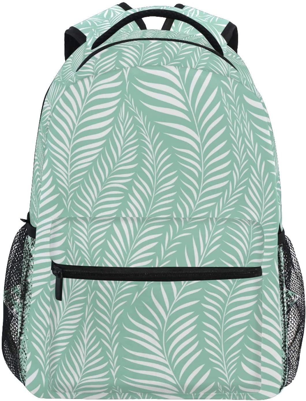 Palm Leaf Backpack Cute Lightweight Student Printed School Bag for Teen Girls