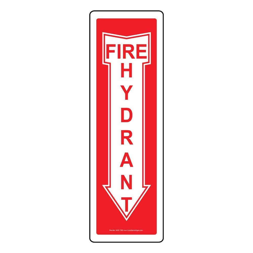 Fire Hydrant Glow-in-Dark Sign, 18x4 in. Plastic for Fire Safety/Equipment by ComplianceSigns