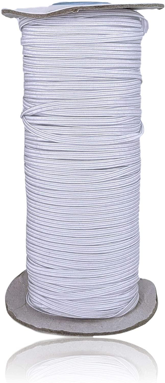 Flat Braided Elastic Band for Sewing, Soft Streach Elasitc Band for DIY Sewing (White, 1/8 3mm 100 Yard)