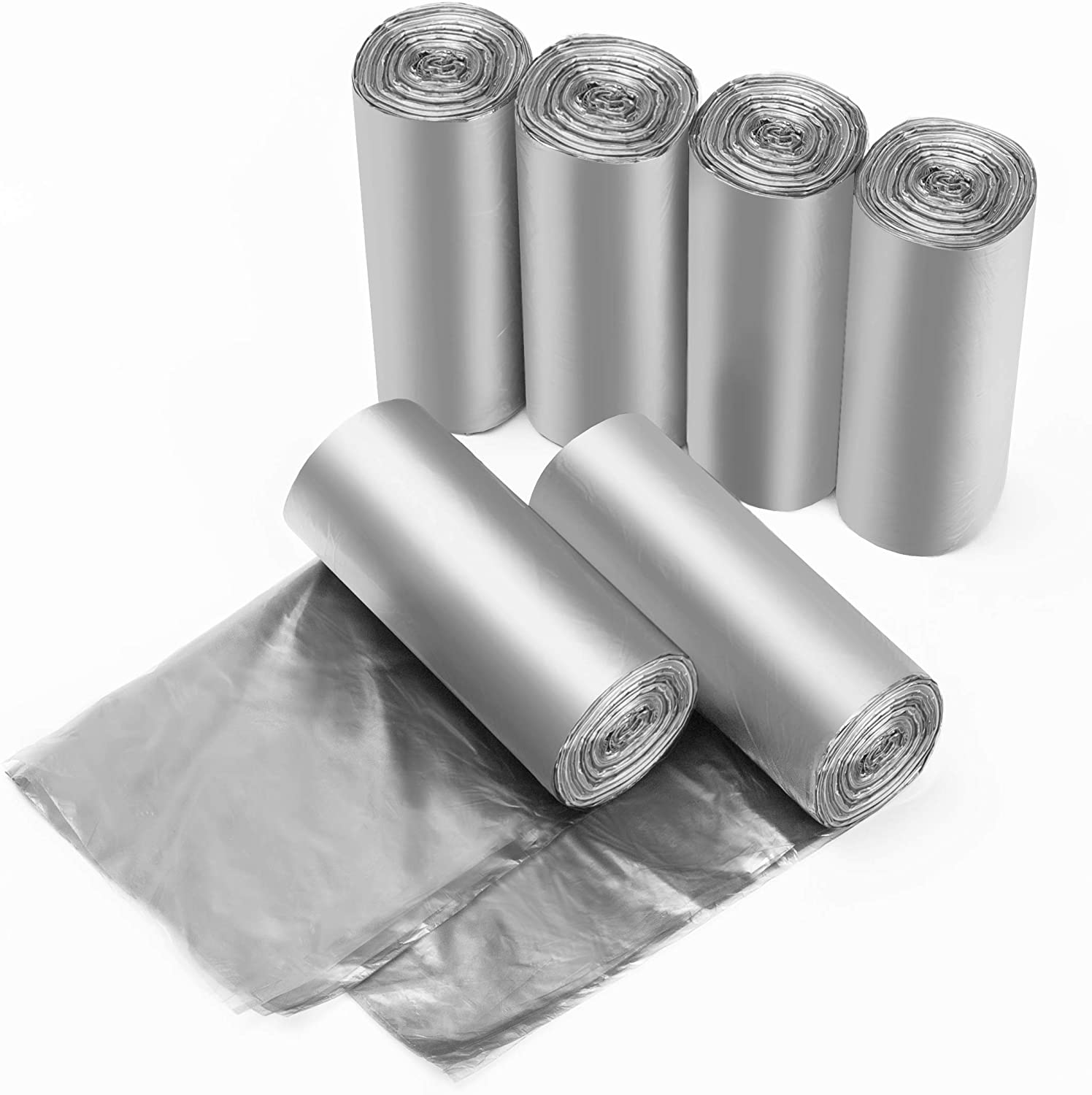 Grey Plastic Trash Bags 1.2 Gallon, Garbage Bags 240 Counts, Extra Strong Rubbish Bags 5 Liter for Home, Office, Kitchen/6 Rolls