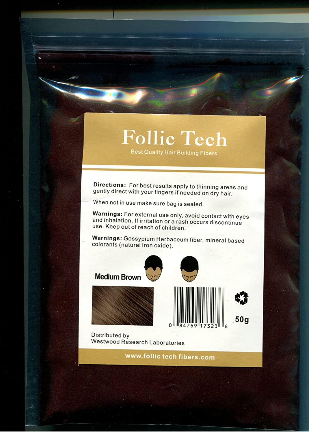 Follic Tech Hair Building Fibers 55 Grams Not 50 Highest Grade Refill Your Bottles from Competitors Like Toppik, Xfusion, (Medium Brown)